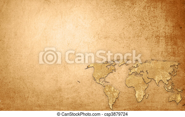 world map vintage artwork - perfect background with space for text or image - csp3879724