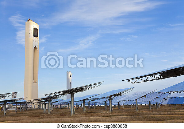 Renewable Green Energy Solar Towers Surrounded by Mirror Panels - csp3880058