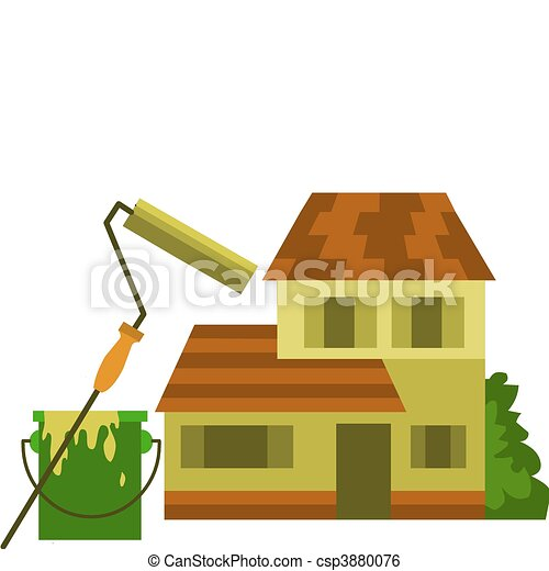home painting; roller brush with yellow paint and bucket - csp3880076