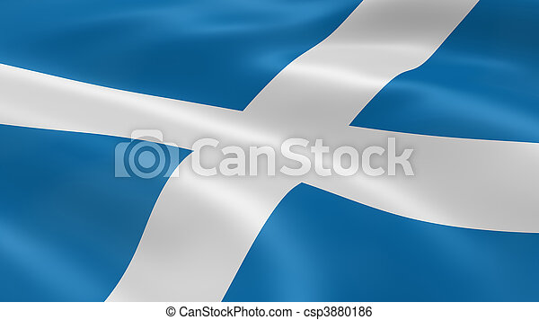 Scottish flag in the wind - csp3880186