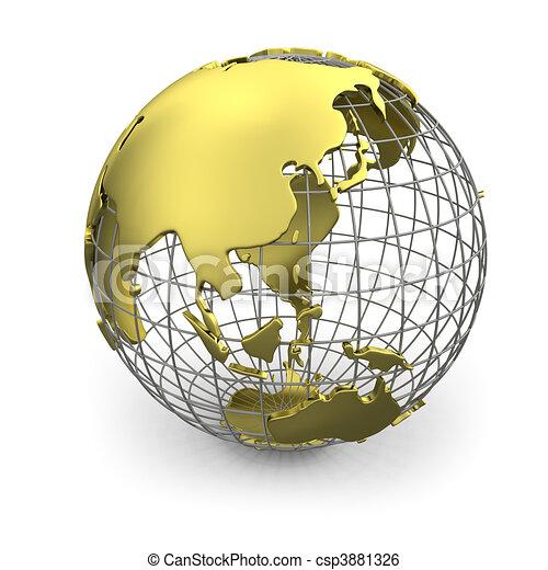 Stock Illustration of Golden globe, Asia - Golden wired 3D globe of ...