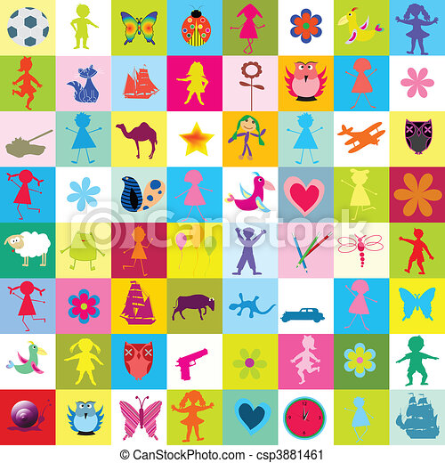 Muster mit spielzeuge und kinder für kindergarten csp3881461
