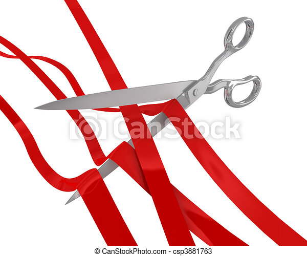 Huge scissors cut many ribbons - csp3881763