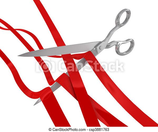 Huge scissors cut many ribbons - csp3881763