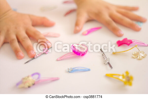 Child\'s hands, childrens jewels - csp3881774