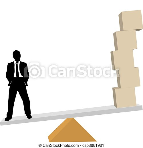 Business man weighs solutions to shipping boxes on scale - csp3881981
