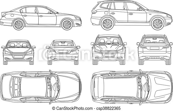 Clip Art Vector Of Car Sedan And Suv Line Draw Four All View Top