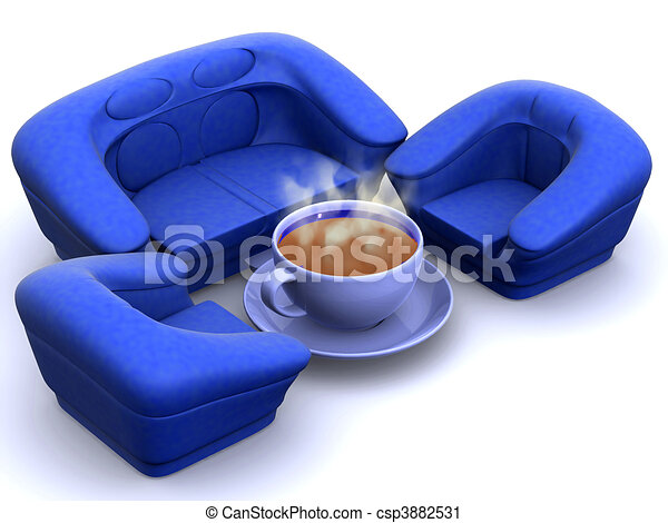 Armchair with cup of coffee - csp3882531