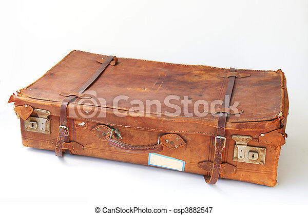 Picture of Old leather suitcase - Vintage weathered leather ...