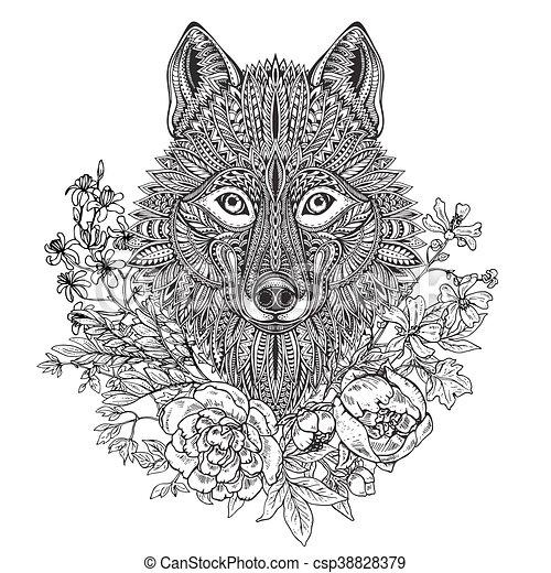 Illustrations Vectorises De Tte Graphique Griffonnage Ethnique Main Loup Orn