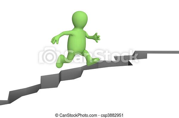 Puppet, jumping through a crack - csp3882951
