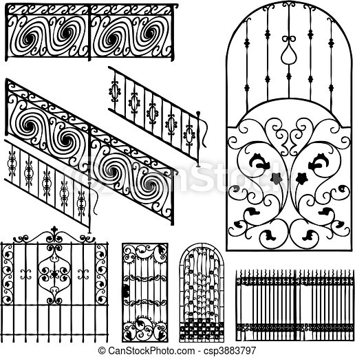 Collection of fences (vector) - csp3883797