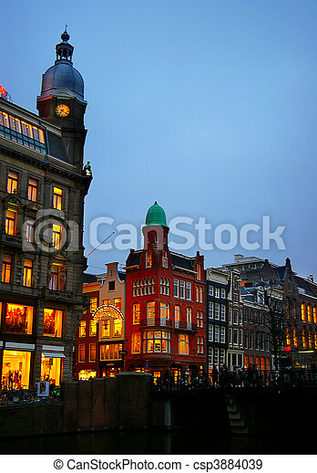 View of Amsterdam, Netherlands, at dusk - csp3884039