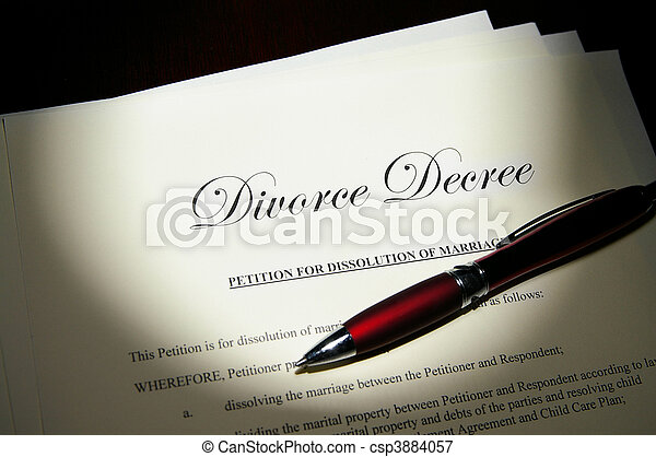 Divorce decree papers and pen - csp3884057