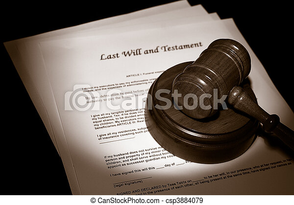 judge\'s legal gavel on Last Will documents - csp3884079