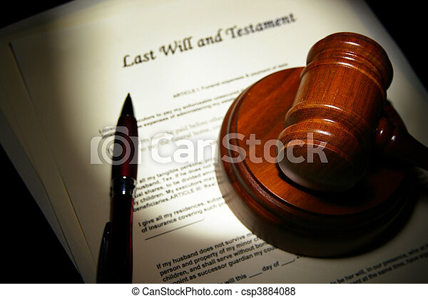 Last Will and Testament with legal gavel - csp3884088
