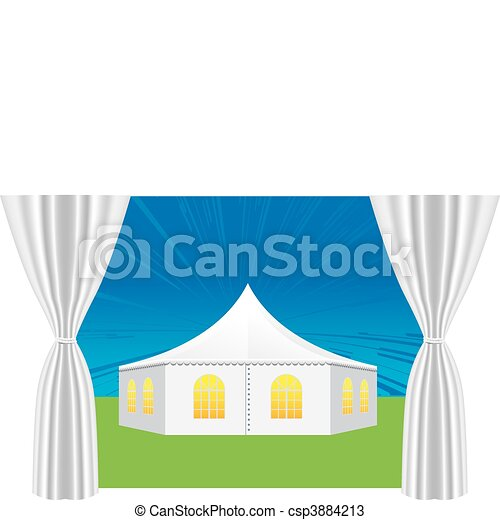 large white tent for events  - csp3884213