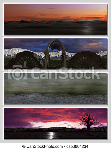 four different fantasy landscapes for banner, background or illustration. with clouds, mountains and sunset - csp3884234