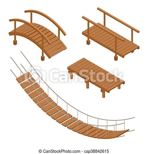 Hanging wooden bridge, wooden and hanging bridge vector illustrations ...