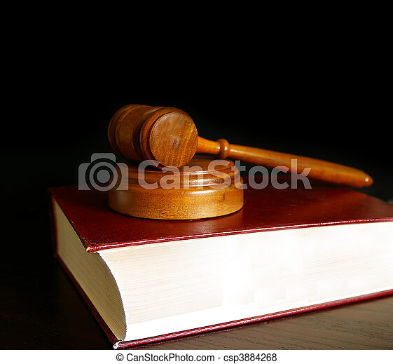 judges court gavel sitting on a law book - csp3884268