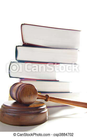 judges legal gavel and stacked law books - csp3884702