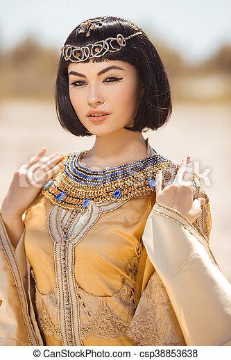 美しい, ヘアスタイル, 女, のように, エジプト人, cleopatra, 女王 ...