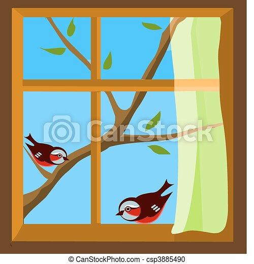 window with a view to two  birds on spring  branch - csp3885490