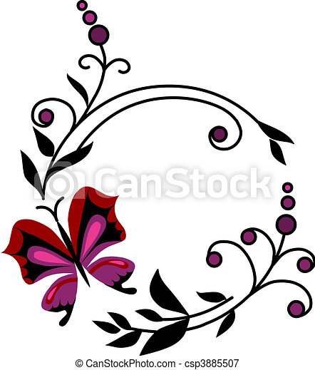 red abstract flowers with butterflies -2 - csp3885507