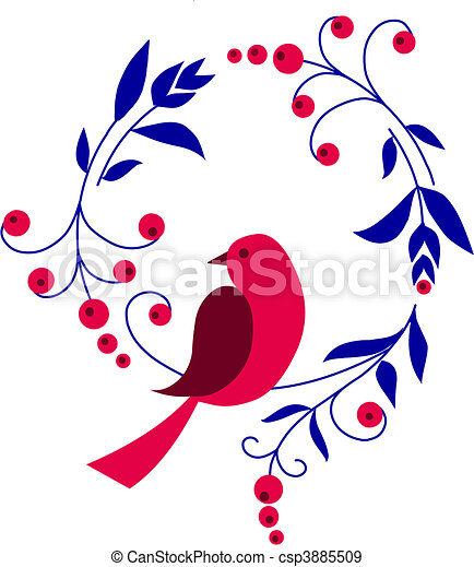 red bird sitting on a branch with flowers - csp3885509