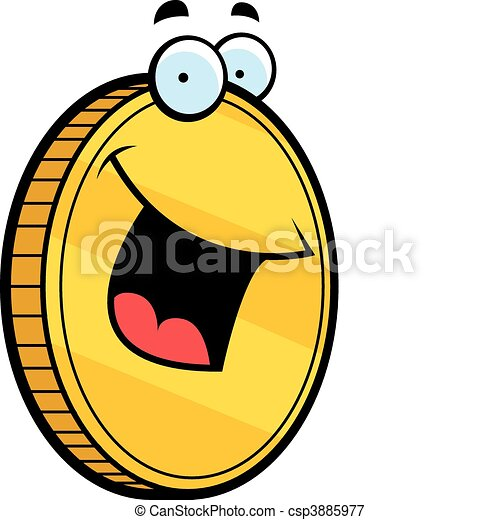 Gold Coin Smiling - csp3885977