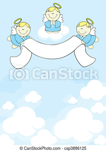 three cherubs in heaven - csp3886125