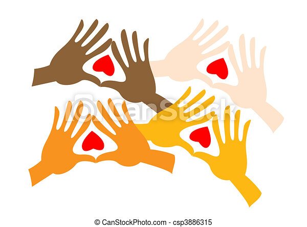 Pairs of colored hands - csp3886315