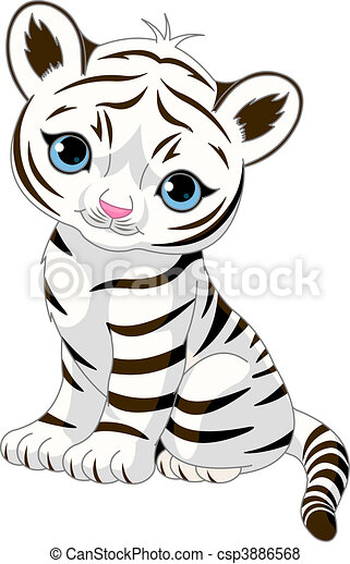 Cute white tiger cub - csp3886568