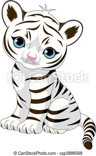 Cute white tiger cub - csp3886568