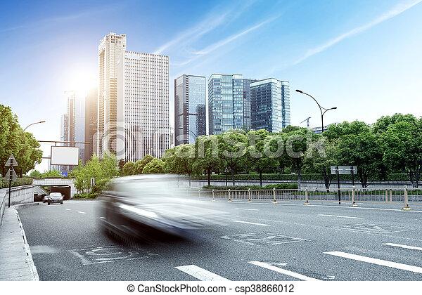 China Hangzhou modern architecture, motion blur car.