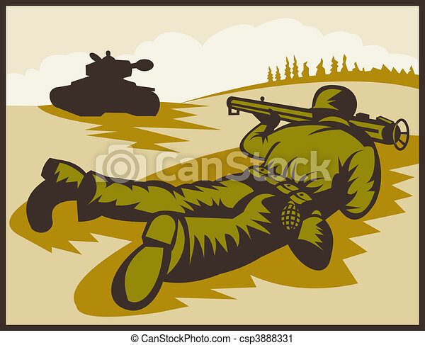 World two soldier aiming bazooka at battle tank. - csp3888331