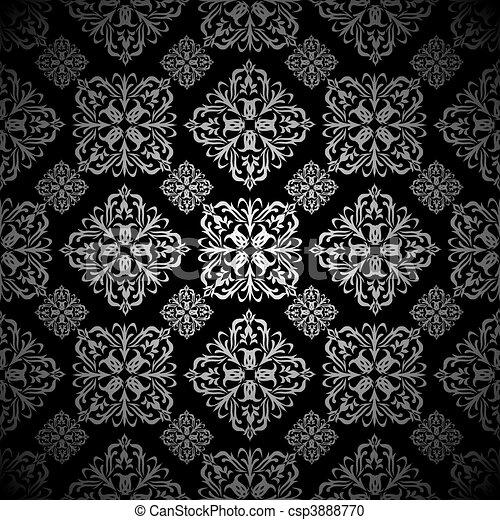 Clipart vecteur de floral carreau papier peint argent argent et noir csp3888770 - Papier peint noir et argent ...