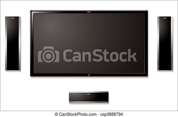 lcd television with speakers - csp3888794