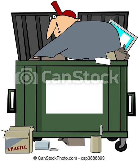 Stock Illustration - Dumpster Diving Man - stock illustration, royalty ...