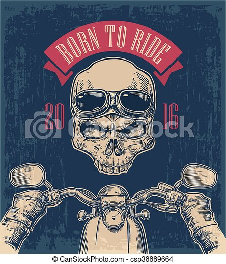 Biker driving a motorcycle rides and skull with glasses. - csp38889664