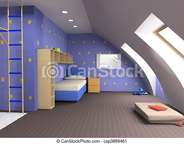 Clipart de childroom moderne conception grenier for Conception 3d appartement