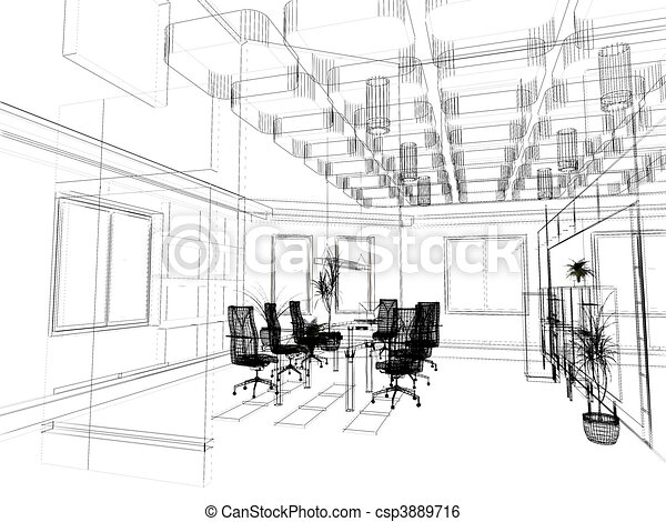 stock illustration the modern office sketch art drawing office