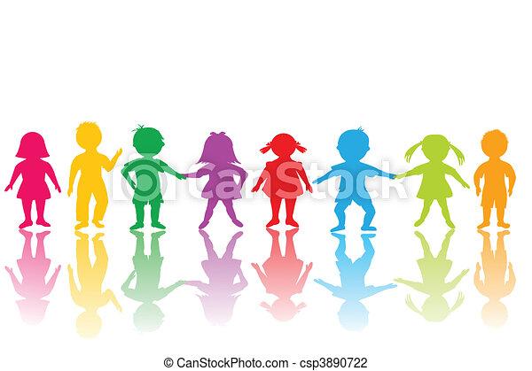 Clip Art van groep, gekleurde, Kinderen csp3890722 - Zoek naar Clipart ...