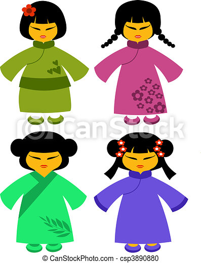 icons of japanese dolls in colorful traditional dresses -2 - csp3890880
