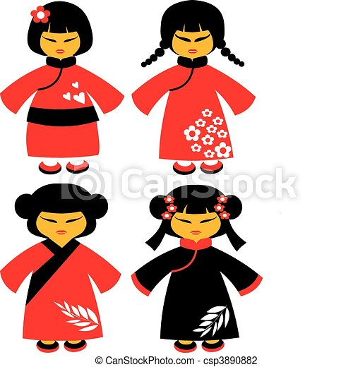 icons of japanese dolls in red traditional dresses -1 - csp3890882