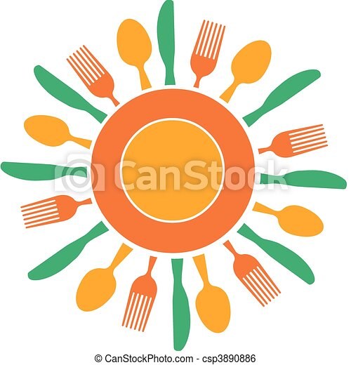 fork, knife and plate organized like yellow sun - csp3890886