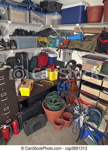 Messy Garage Storage  - csp3891313