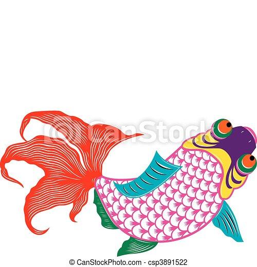 oriental scissor cut fish  - csp3891522