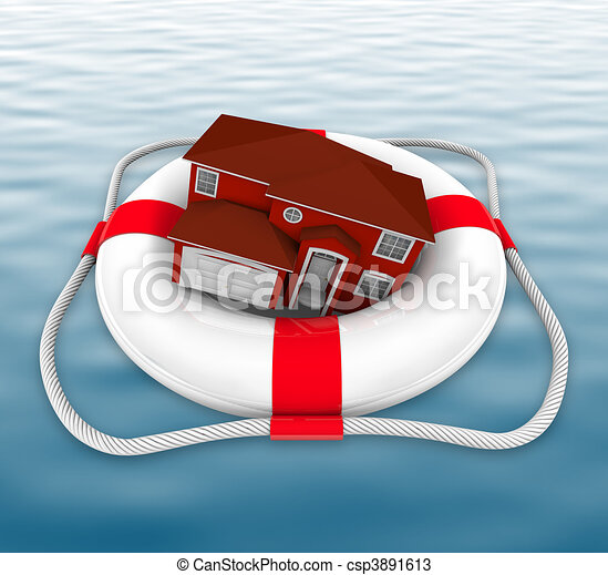 Home in Life Preserver on Water - csp3891613