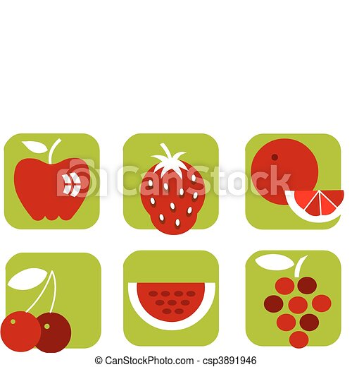 healthy summer fruit icons on green background - csp3891946